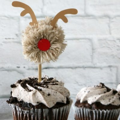 Reindeer Pom Pom Cupcake Toppers