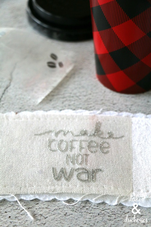 make coffee not war glitter coffee cuff