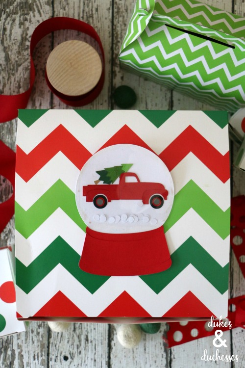 paper snow globe gift tag with truck