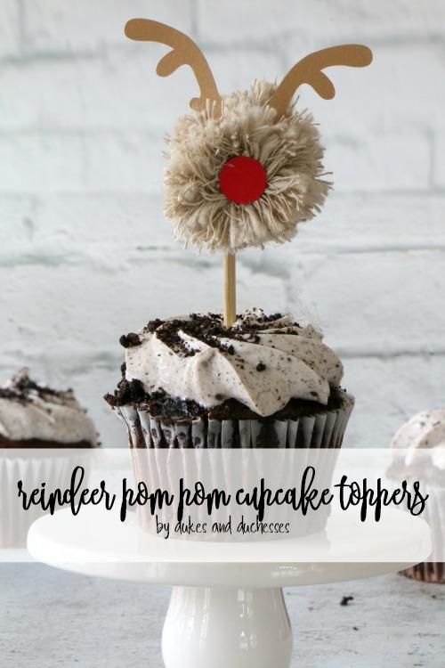 reindeer pom pom cupcake toppers