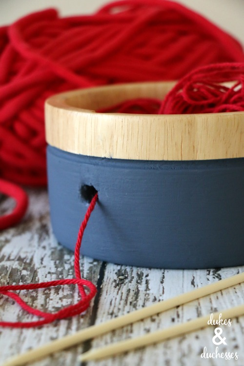 repurposed thrifted DIY yarn bowl