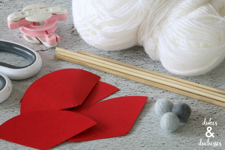 supplies for DIY gnome cupcake toppers