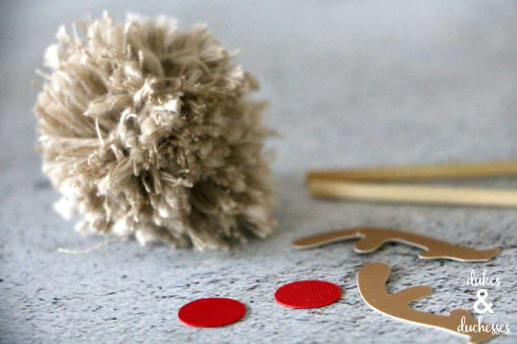 supplies for reindeer pom pom cupcake toppers