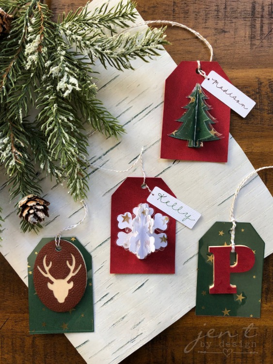 three dimensional christmas gift tags