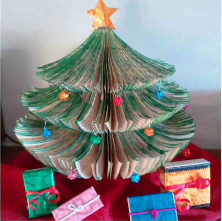 upcycled book page christmas tree