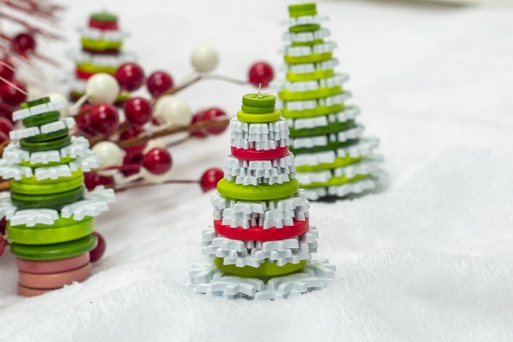 upcycled button christmas trees