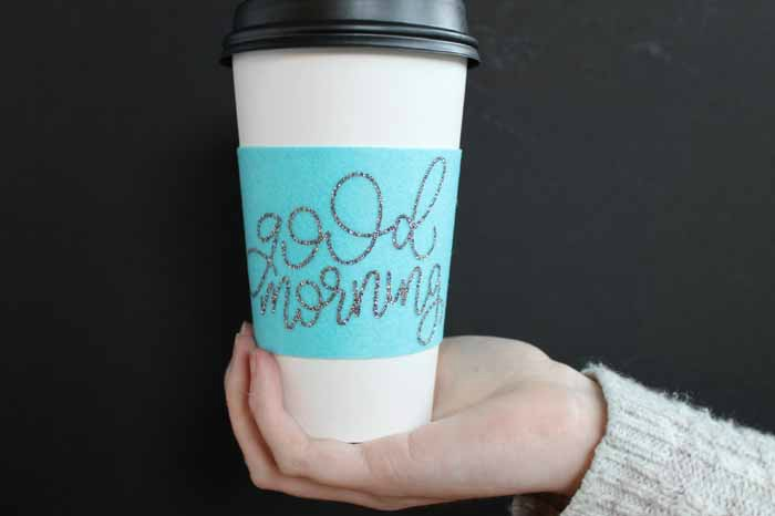 DIY felt coffee sleeve made with Cricut
