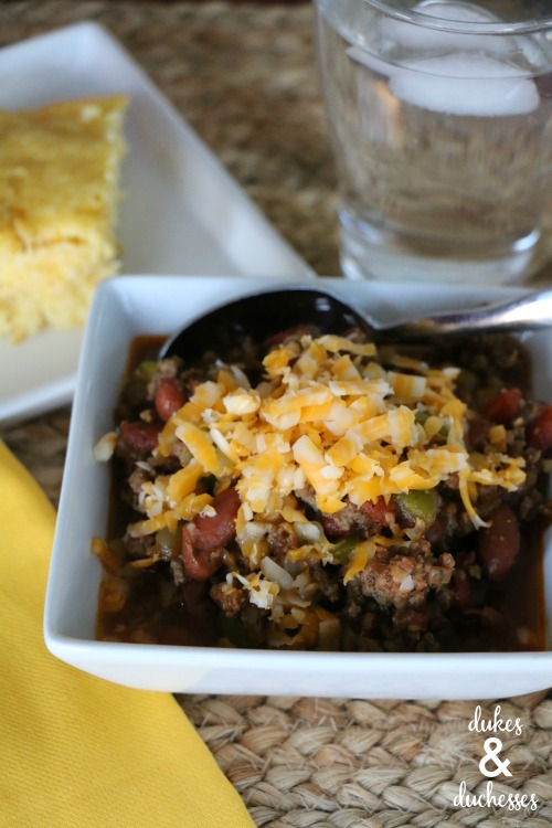 crockpot chili with meat and beans