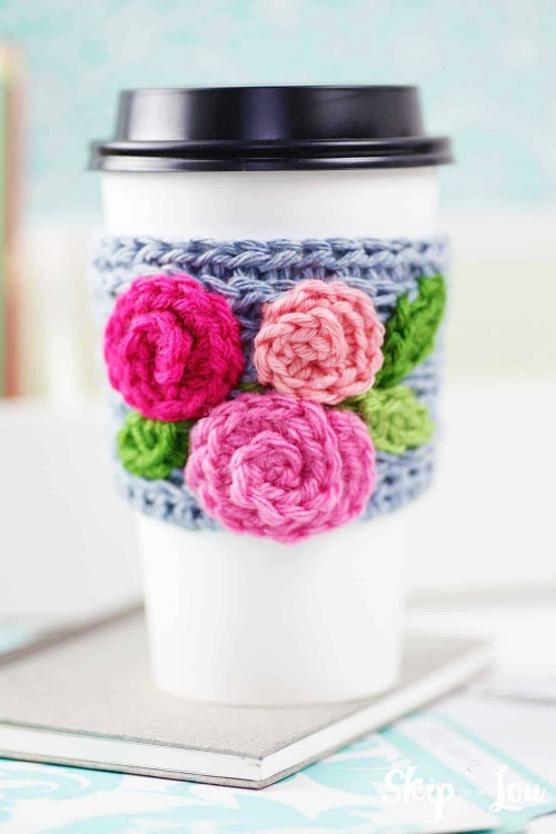 floral crochet coffee sleeve