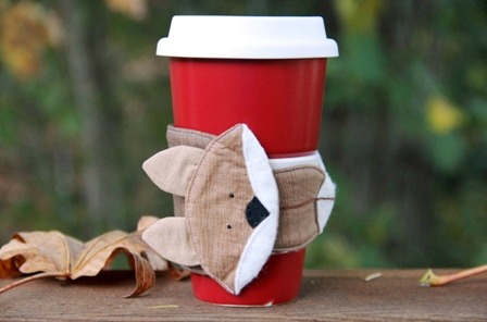 fox coffee cozy sleeve