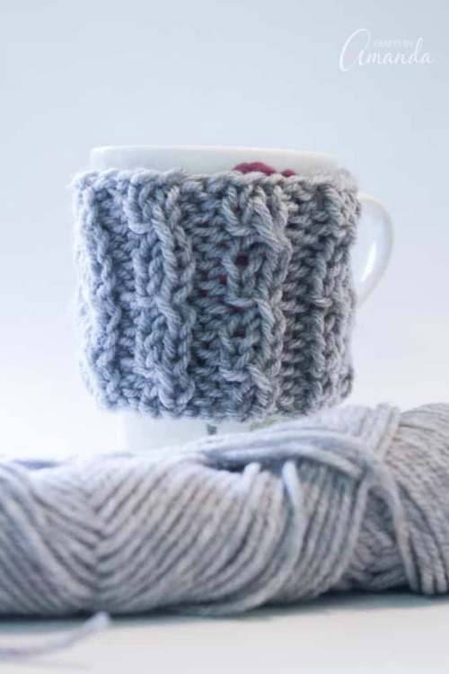 how to knit a coffee cuff
