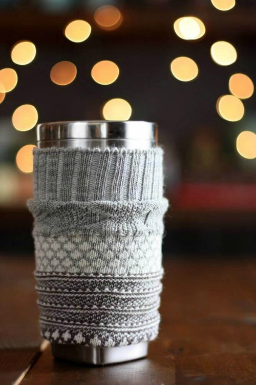 upcycled sock coffee cozy