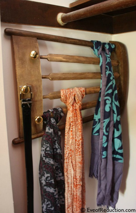 chair back scarf storage and organization