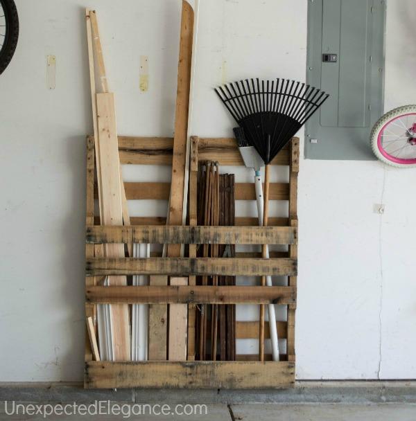 pallet garage tool and wood organizer