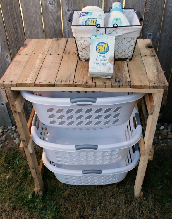 repurposed pallet laundry shelf