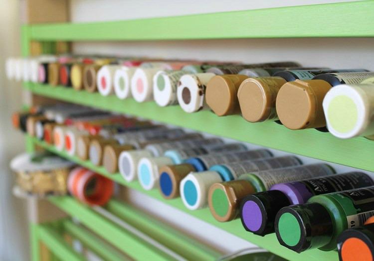 upcycled crib craft room storage idea