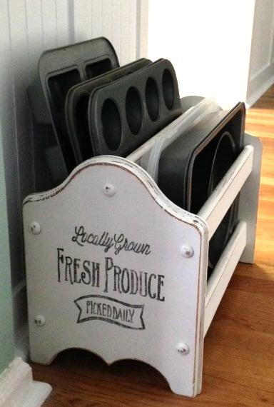 upcycled magazine rack bakeware storage
