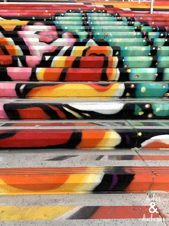 colorful painted stairs on las vegas strip