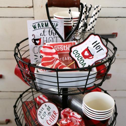 hot cocoa themed tiered tray