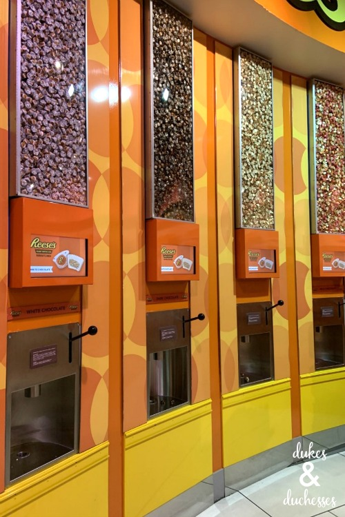 reeses peanut butter cups at hersheys chocolate world in las vegas
