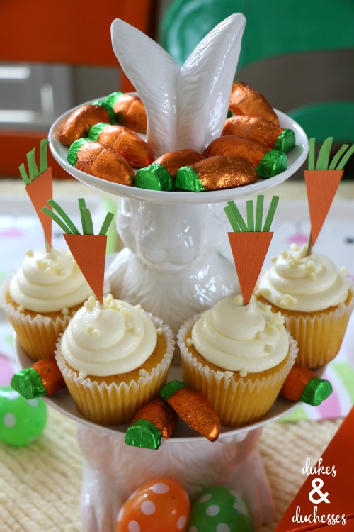 carrot cupcake toppers on easter bunny cupcake stand