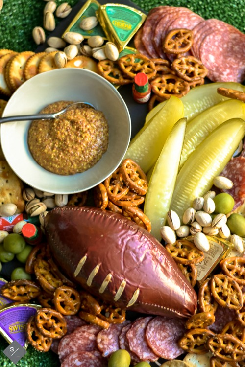 football tailgating charcuterie board