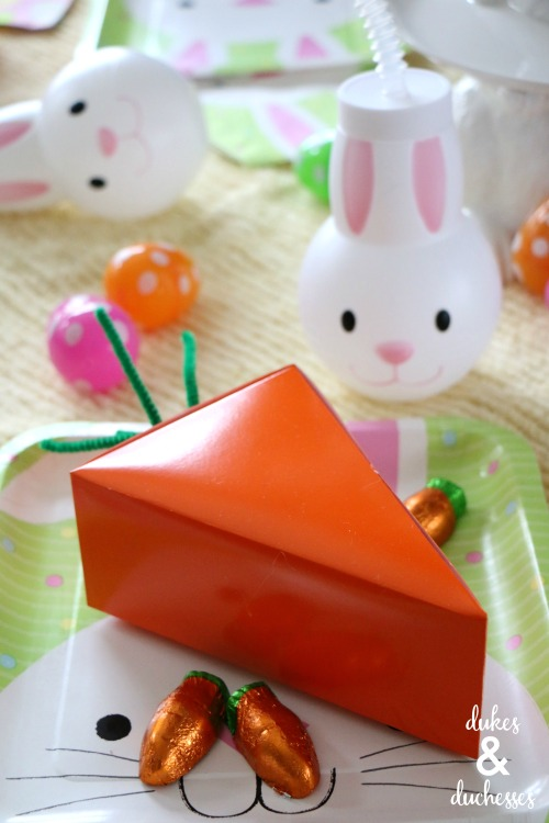 repurposed pie box carrot party favor idea