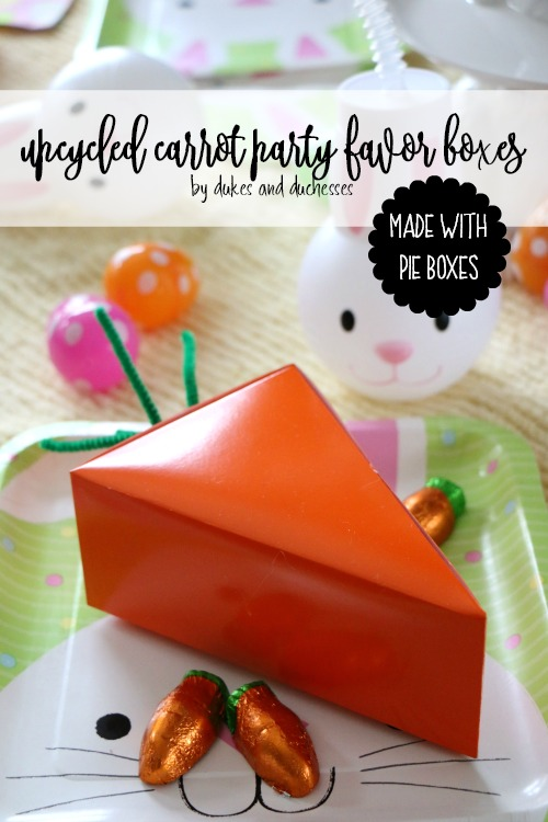 upcycled carrot party favor boxes made with pie boxes