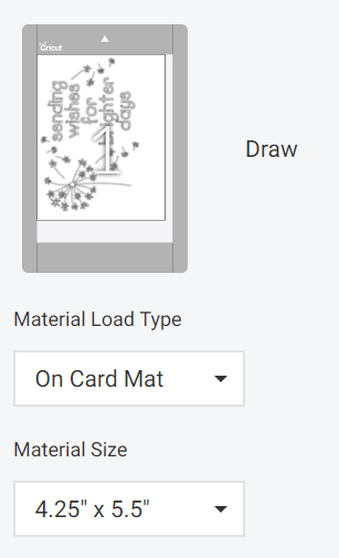 how to select size for cricut card mat project
