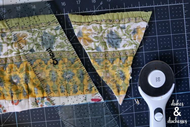 DIY repurposed quilt garland