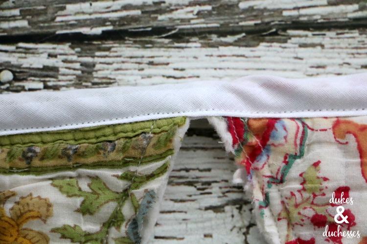 Bias binding on quilted garland