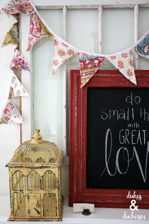 repurposed quilt garland home decor