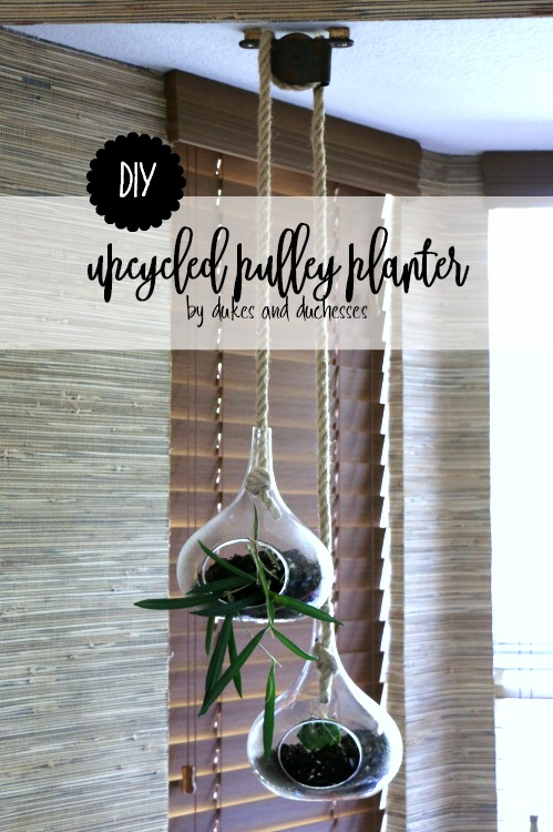DIY upcycled pulley planter